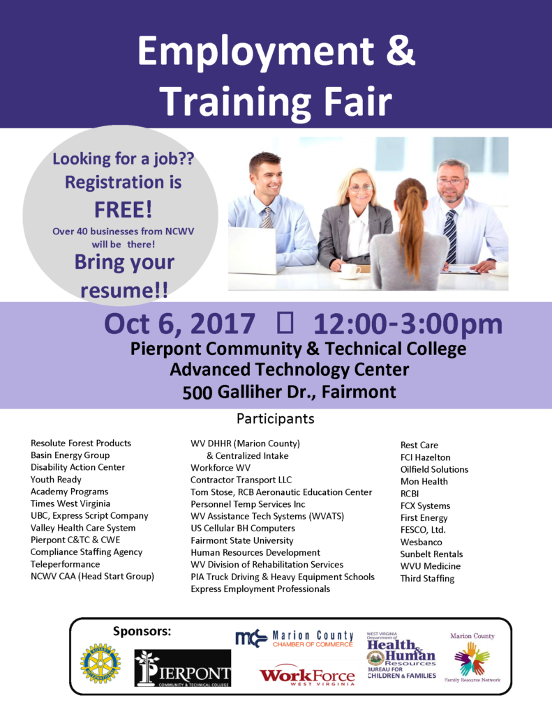 Looking for a job?  Registration is free!  Over 40 businesses from NCWV will be there.  Bring your resume!  October 6th, from 12:00 - 3:00 PM at the Pierpont Community & Technical College.