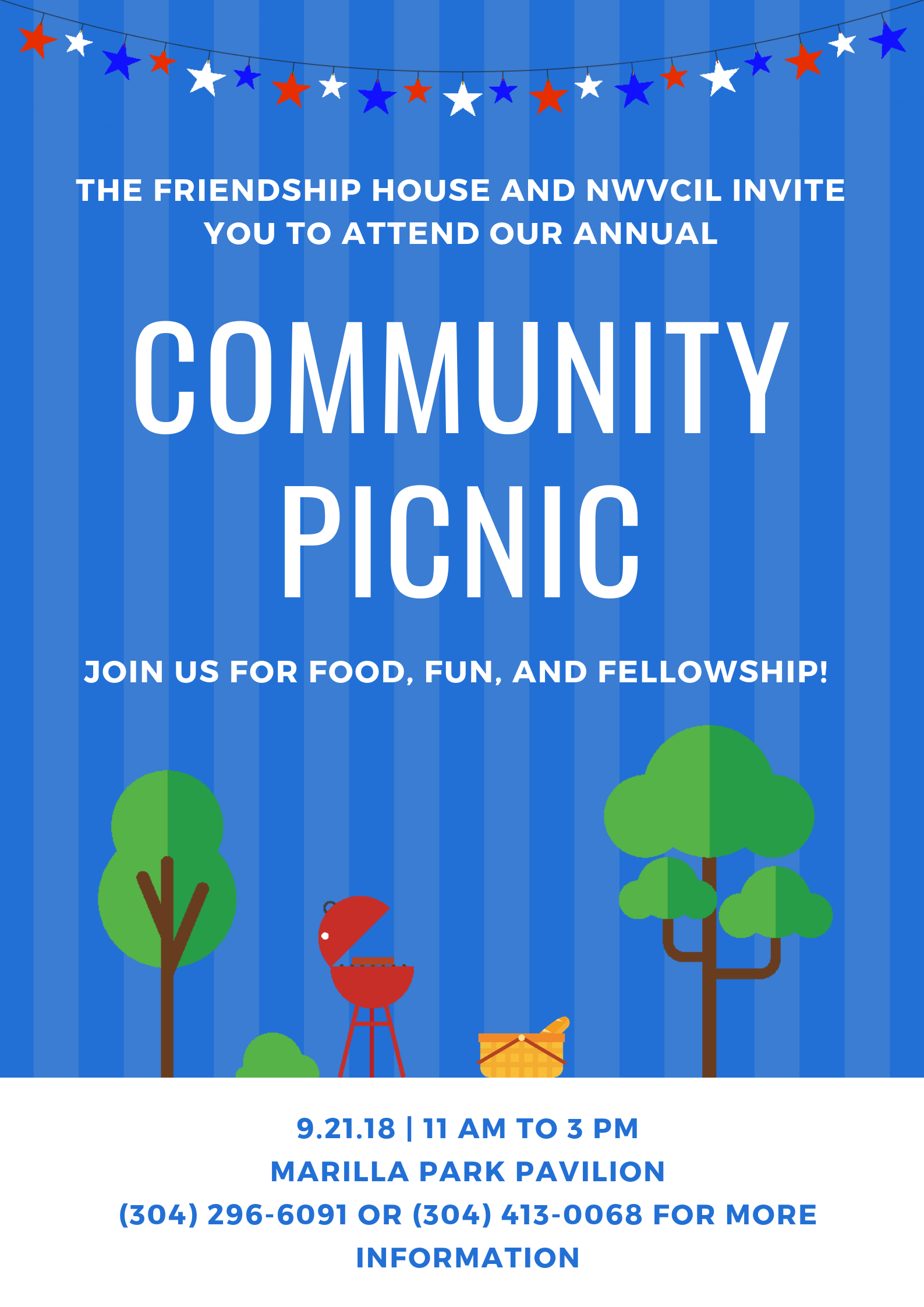 The Friendship House and NWVCIL invite you to attend our annual Community Picnic! Everyone welcome!  Friday, September 21st from 11 AM - 3 PM at Marilla Park Pavilion. Please call (304) 296-6091 for more information.  As an added bonus, there's now a bus route that passes by the pavilion! Please see http://www.busride.org/Maps-Schedules/Routes/8-Brookhaven for more information regarding that route.
